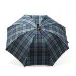 Parapluie droit tissé écossais bleu et vert