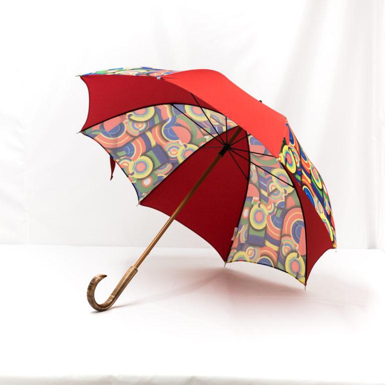 Parapluie droit imprimé multicolore rouge