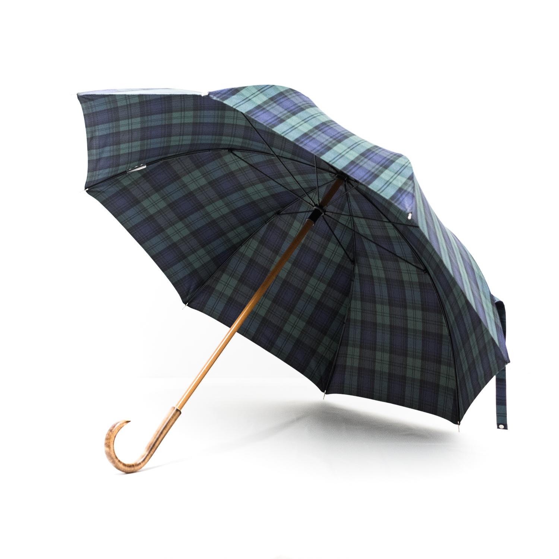 Grand parapluie homme tissé écossais vert et bleu