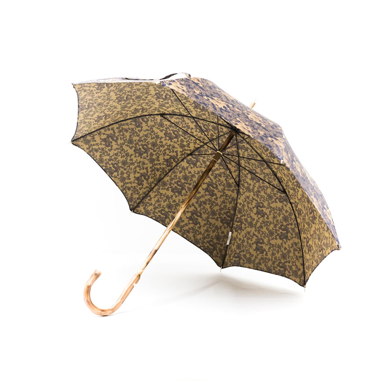 Parapluie anglais de marche tissé dragons bleus