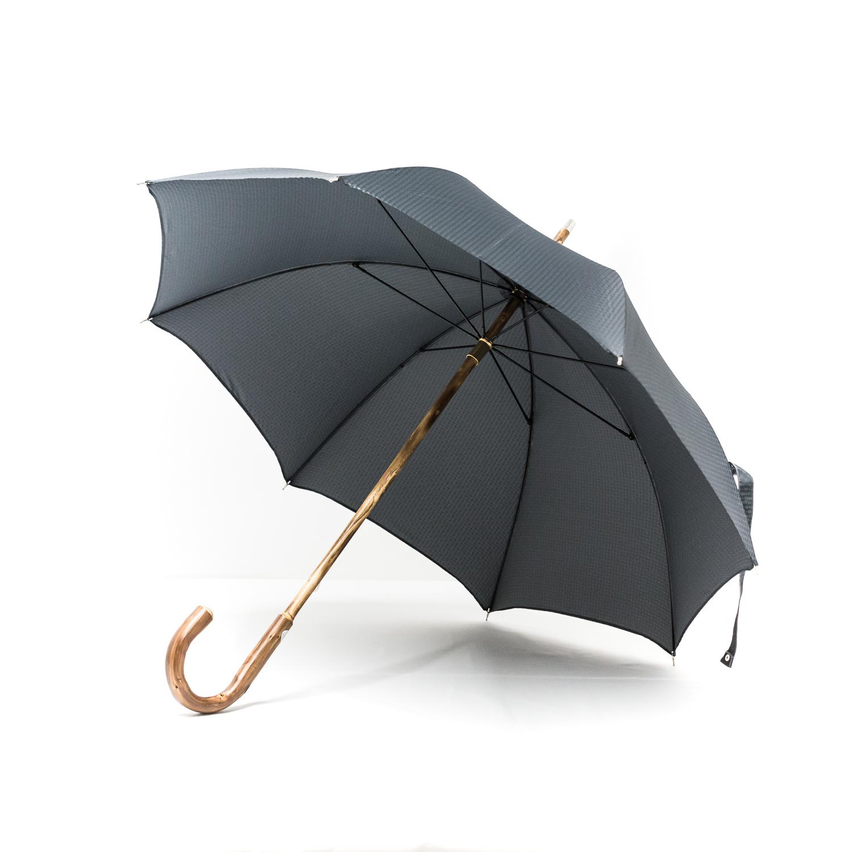 Parapluie chic anglais de marche tissé petits carreaux gris