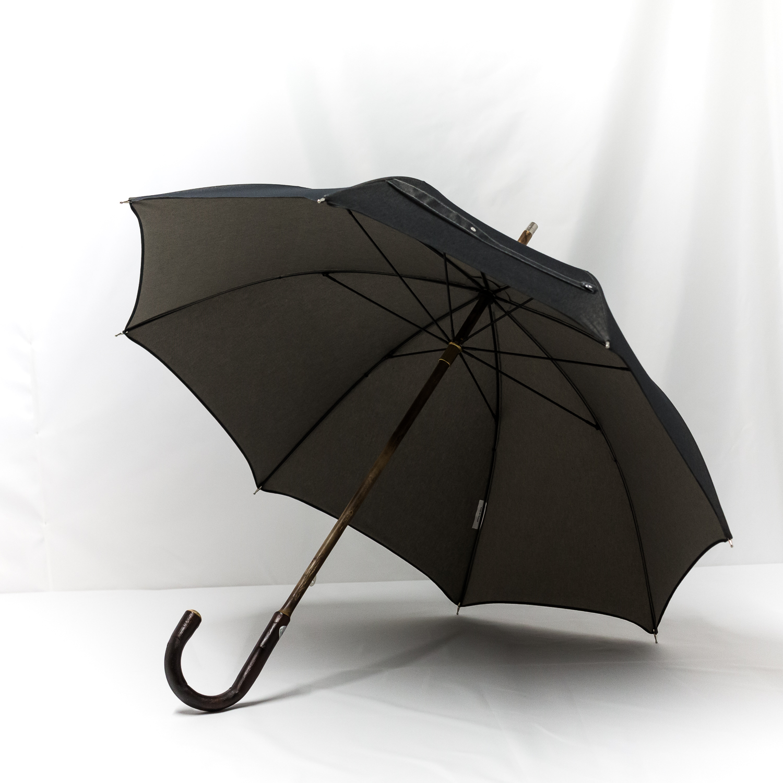 Parapluie anglais de marche tissé jean gris