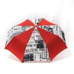 Parapluie pliant imprimé journal rouge