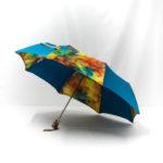 Parapluie pliant imprimé batik bleu cobalt