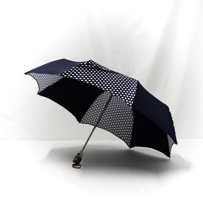 Parapluie pliant imprimé pois bleu