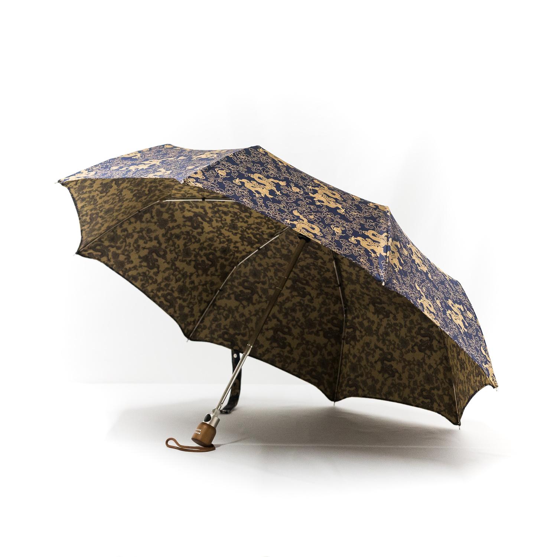Parapluie pliant femme tissé dragons bleus