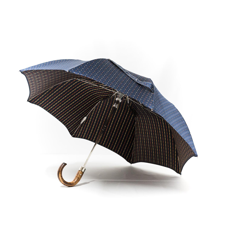 Parapluie luxe pliant homme tissé bleu