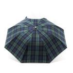 Parapluie pliant homme tissé écossais vert et bleu