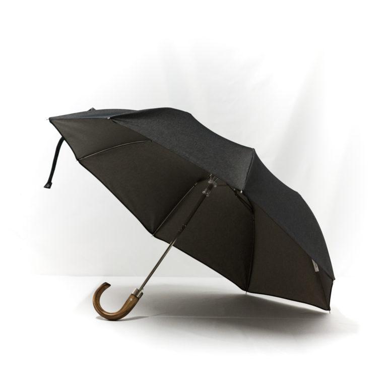 Parapluie pliant homme tissé jean gris